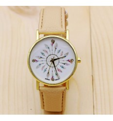 Watch woman Bohemian-style pattern Peacock Feathers - bracelet beige