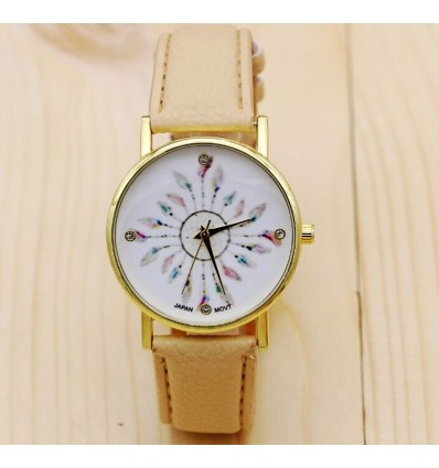 Montre femme style Bohème motif Plumes de Paon - bracelet beige