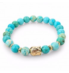 Bracelet turquoise + perle Bouddha dorée. Livraison gratuite.