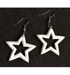 Earrings original pattern star in bones of water buffalo carved.