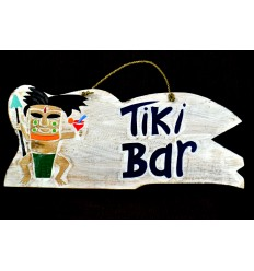 "Large plaque / sign ""Tiki Bar"" 50cm handmade in wood."