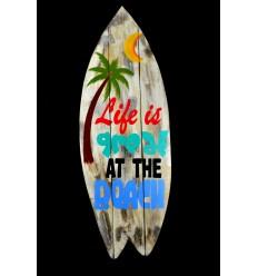 Grande segno di 83cm forma di Surf. Pannello di parete decorazioni in legno artigianale.