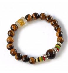 Bracelet Tibétain en Oeil de Tigre et Cristal de roche naturels.