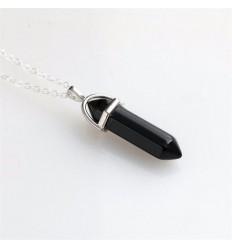Collier avec pendentif pointe en Onyx naturel. Protège la grossesse, équilibre les énergies.