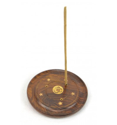 Incense holders in wood for the rods and cones - pattern symbol Ôm (Aum)