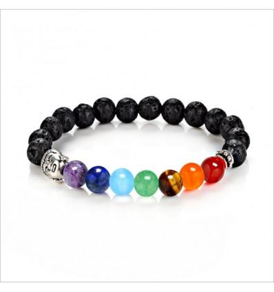 Bracelet 7 chakras en pierre de lave et 7 pierres fines.