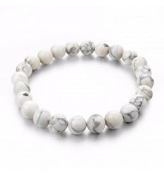 Bracelet Lithotherapie in Howlite natural -Anchoring, relaxation, meditation.