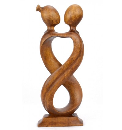 Statue abstract couple Love Infinity h30cm solid wood Brown