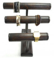 Racks bracelets and watches 3 rods, solid wood tint brown