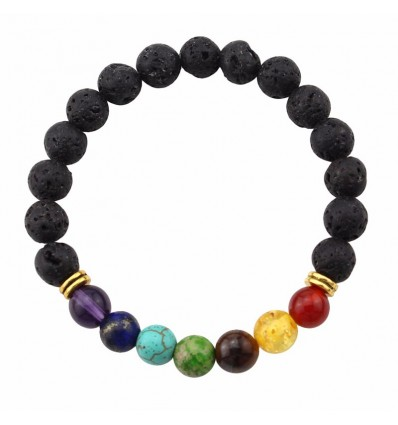 Bracelet 7 chakras in lava stone. Jewelry Yoga / Meditation.