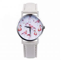 """Watch fantasia """"Flamingo"""" bracelet imitation leather white"""