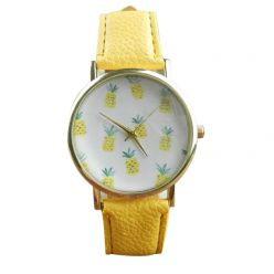 "Watch fancy ""Pineapple"" bracelet leatherette yellow. Free shipping !"