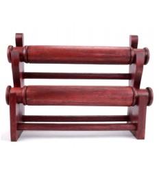 Porte-bracelets et montres / Présentoir à bijoux 2 joncs en bois massif finition rouge
