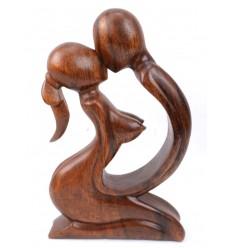 Statuette abstraite Couple Sensuel h20cm en bois massif sculpté main