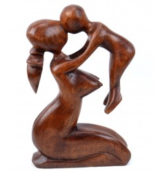 Abstract Statue Mother and Baby H20cm made of solid wood the color of chocolate carved hand