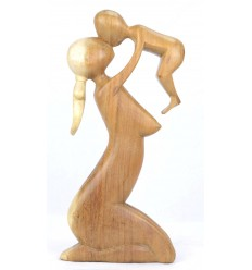 Abstract Statue Mother and Baby h20cm solid wood natural finish
