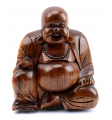 Statuette Bouddha chinois happy buddha en bois pas cher.