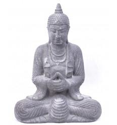 Statua di Buddha in pietra grigia, arredamento asiatico.