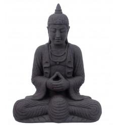 Statua di Buddha in pietra Java nero h28cm