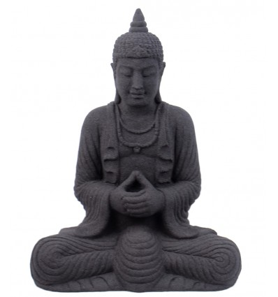 Statua di Buddha in pietra nera, deco etnico asiatico thailandia.