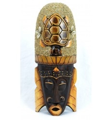 African mask 30cm wooden decor Turtle in sand and shells Cowries