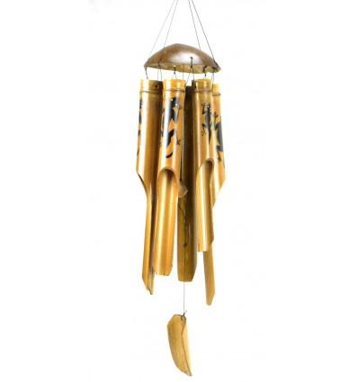 Carillon di vento di bambù e di cocco arredamento Gecko Margouillat Salamandra.