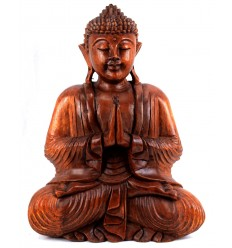 Large sitting Buddha statue solid wood carved hand h40cm