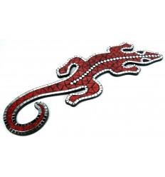 Gecko Margouillat Salamander wall mounted 60cm mosaic of red glass