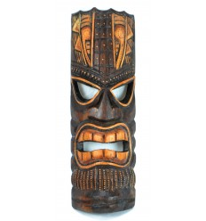 Masque Tiki h30cm en bois, fabrication artisanale.
