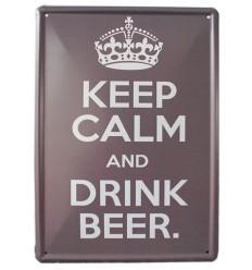"""Piastra segno di metallo in stile Pub inglese """"Keep calm & drink beer"""" - Spedizione gratuita !!!"""