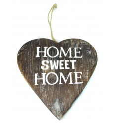 "Plate door in aged wood ""Home sweet Home"", form the heart. Deco romantic."