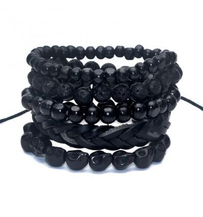 Combinata 5 braccialetti di tendenza per gli uomini del cuoio, del legno e della pietra.