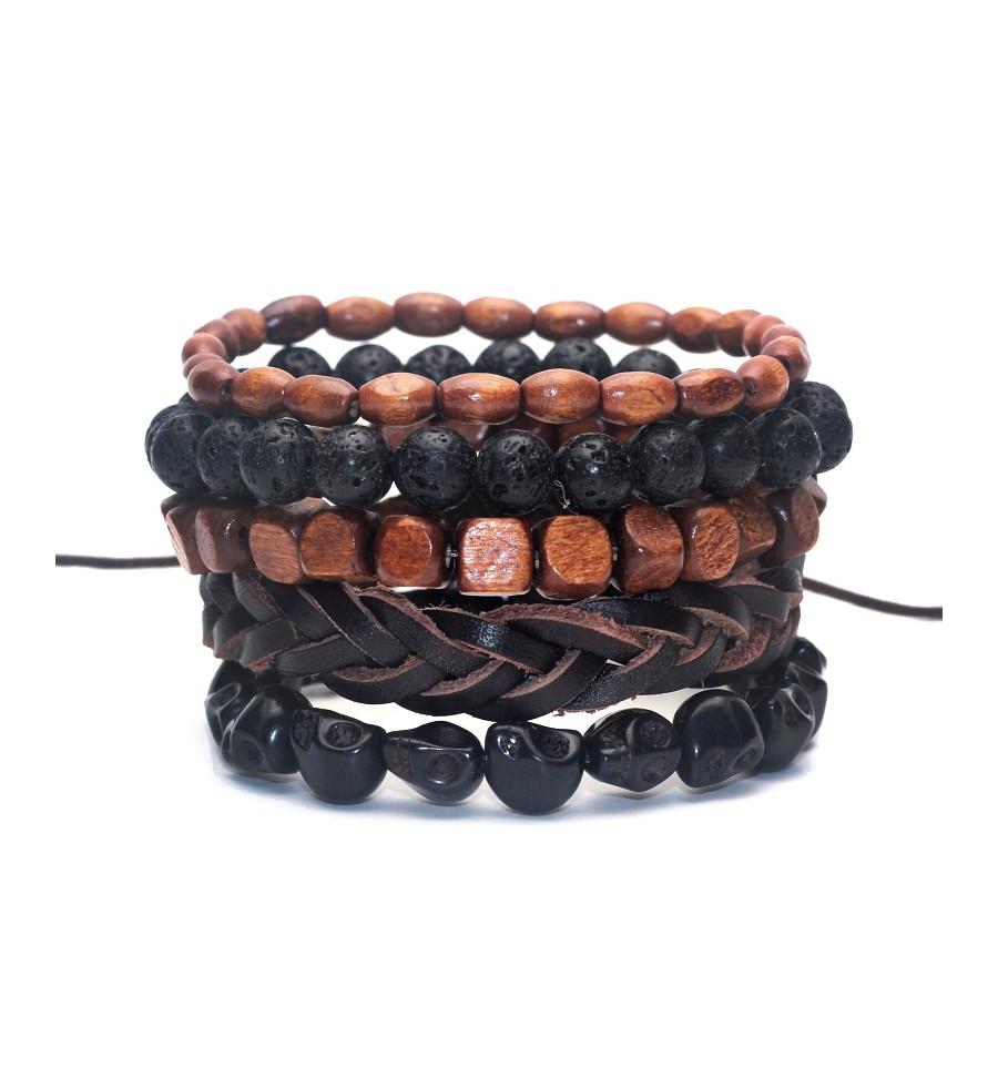 achat bijou bracelet mode original pour homme en cuir bois pierre. Black Bedroom Furniture Sets. Home Design Ideas
