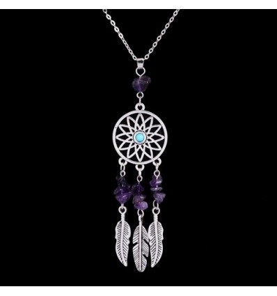 Necklace Bohemian with pendant giant dream catcher + bead amethysts. Free Shipping !
