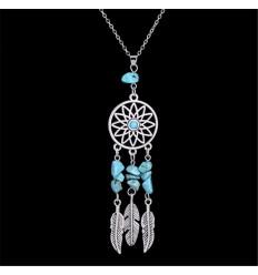 Collier Bohème avec pendentif attrape-rêves + perles turquoise. Livraison Gratuite !