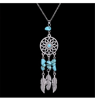 Necklace Bohemian with pendant giant dream catcher + bead in Turquoise. Free Shipping !