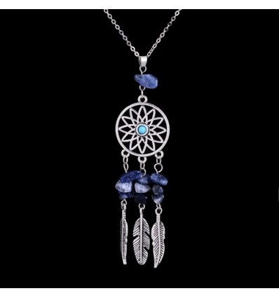 Necklace Bohemian with pendant giant dream catcher + bead in Lapis Lazuli. Free Shipping !