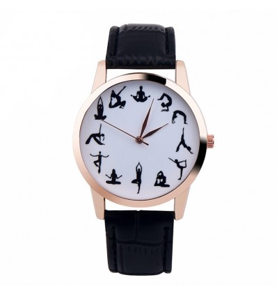 "Watch fancy ""Yoga Addict"" - strap: leatherette black. Free shipping !"