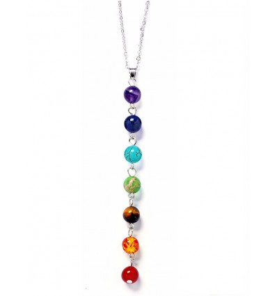 "Necklace with pendant ""7 chakras"" in fine stones."
