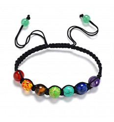 Bracelet shamballa 7 chakras. Bijoux Yoga Tibet livraison gratuite.