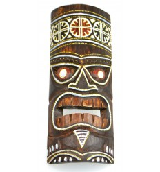 Tiki mask h30cm wood colorful pattern. Decoration Tiki.