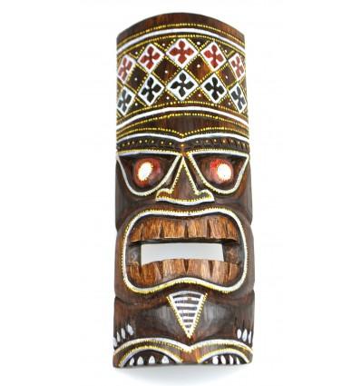 Maschera Tiki h30cm legno modello colorato. Deco Hawaii.