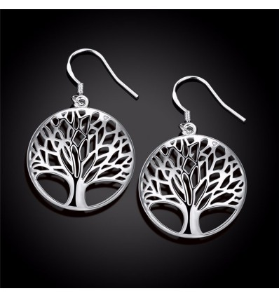 Earrings Tree of Life silver plated. Free shipping !