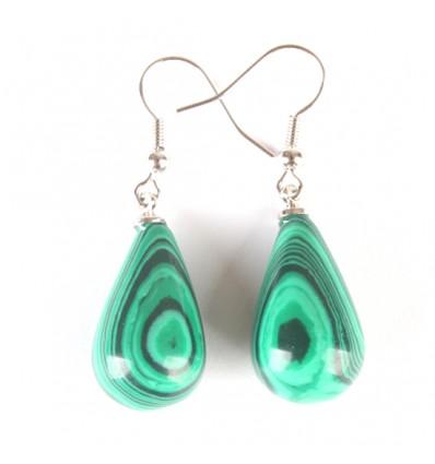 Shape earrings drop in malachite, hook, plated silver.