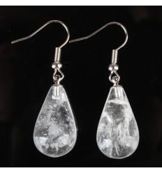 Orecchini a forma di goccia di cristallo di rocca, gancio in argento placcato.