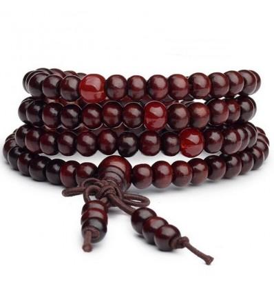 Bracciale Mala Tibetano perline in legno + nodo senza fine.