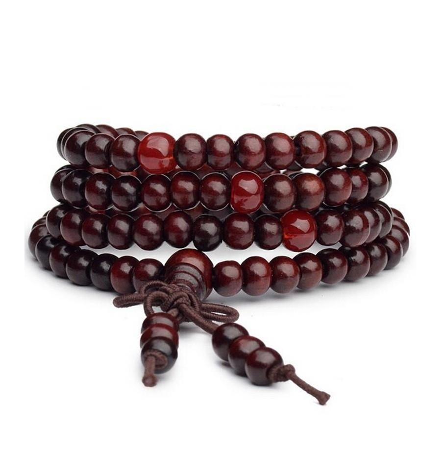 1pc Mala bouddhiste Bois Perles Poisson Collier Pendentif Ethnique