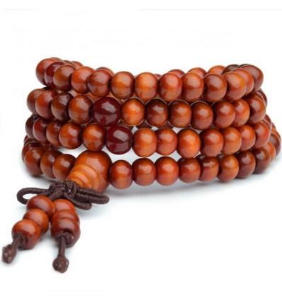 Bracciale Mala Tibetano perline in legno + nodo senza fine. Colore arancione