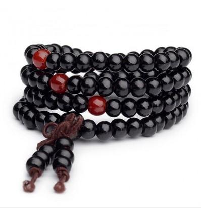 Bracciale Mala Tibetano perline in legno + nodo senza fine. Nero
