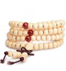 Bracciale Mala Tibetano perline in legno + nodo senza fine. Colore beige